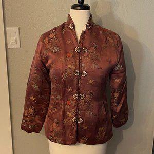 VINTAGE Chinese Brocade Quilted Silk Jacket